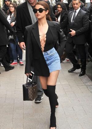 Selena Gomez in Jeans Mini Skirt -05