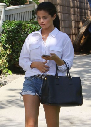 Selena Gomez in Jeans Shorts out in LA