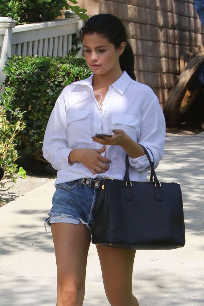 Selena Gomez in Jeans Shorts out in LA