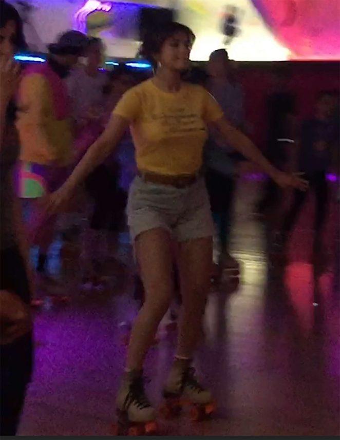 Selena Gomez in Jeans Shorts roller skating in Glendale