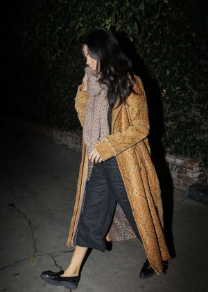 Selena Gomez in Long Coat - Night out at Firefly in Hollywood