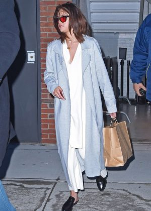 Selena Gomez in Long Coat out in NY