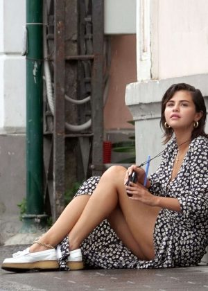 Selena Gomez in Long Dress on holiday in Capri