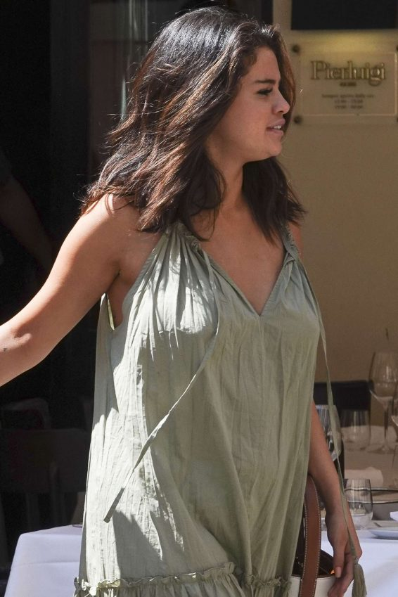 Selena Gomez in Long Summer Dress - Out in Rome