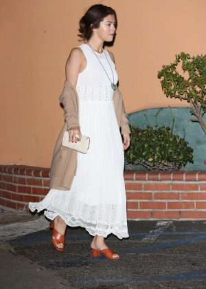 Selena Gomez in Long White Dress in LA