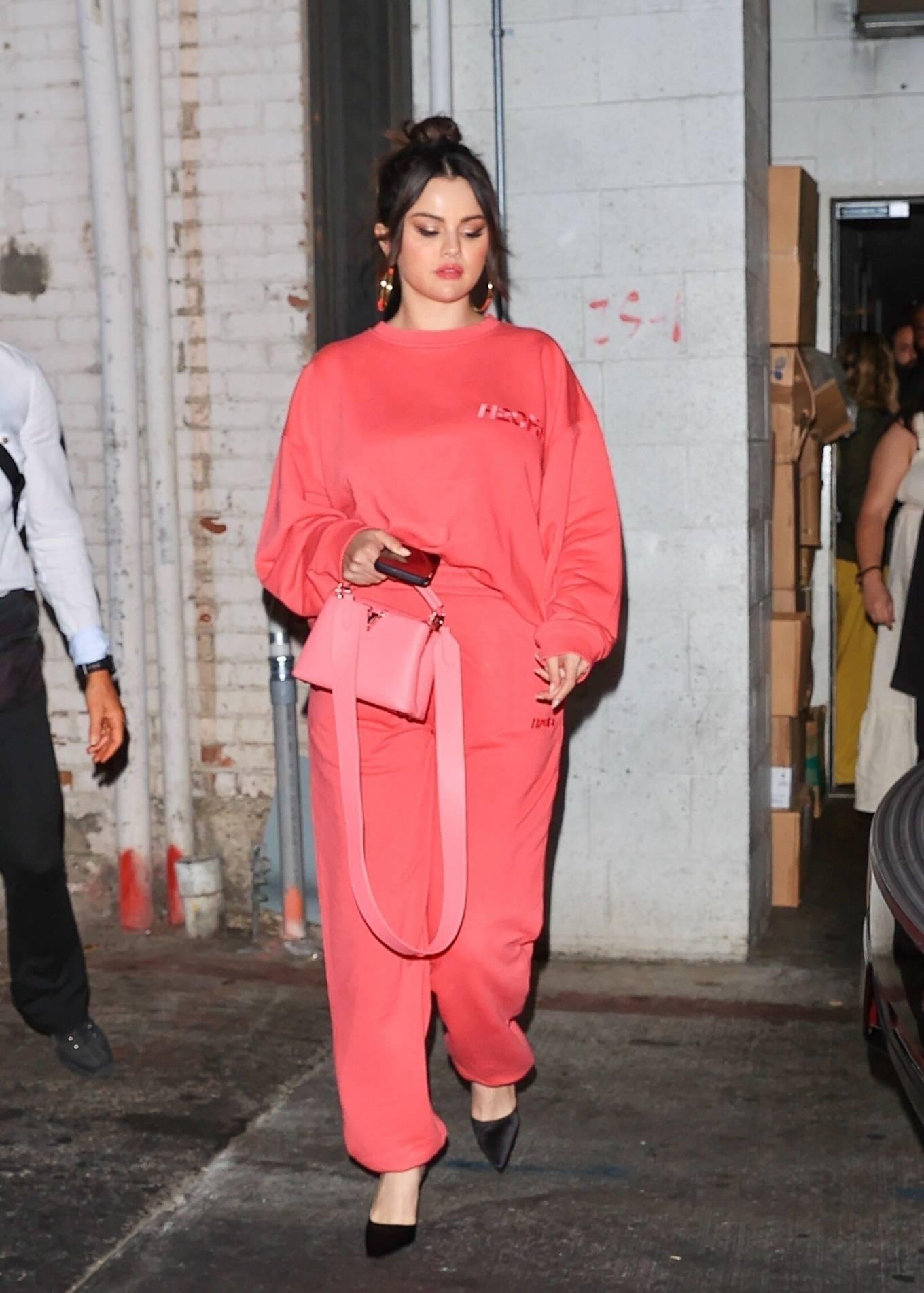 Selena Gomez 2021 : Selena Gomez – In pink as she leaves a late dinner at Wallys restaurant in Beverly Hills-03