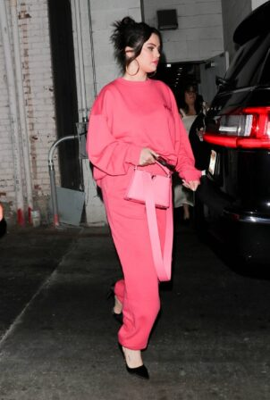Selena Gomez - In pink as she leaves a late dinner at Wally's restaurant in Beverly Hills
