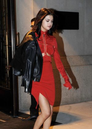 Selena Gomez in Red Dress on Valentines Day in New York