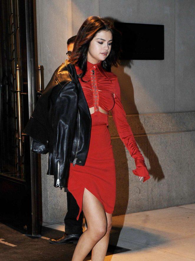 Selena Gomez in Red Dress on Valentines Day in New York
