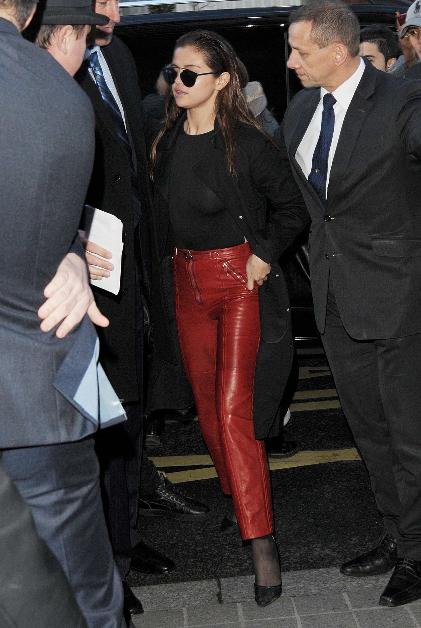 Selena Gomez in Red Leather out in Paris