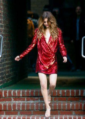 Selena Gomez in Red Mini Dress on set in NYC