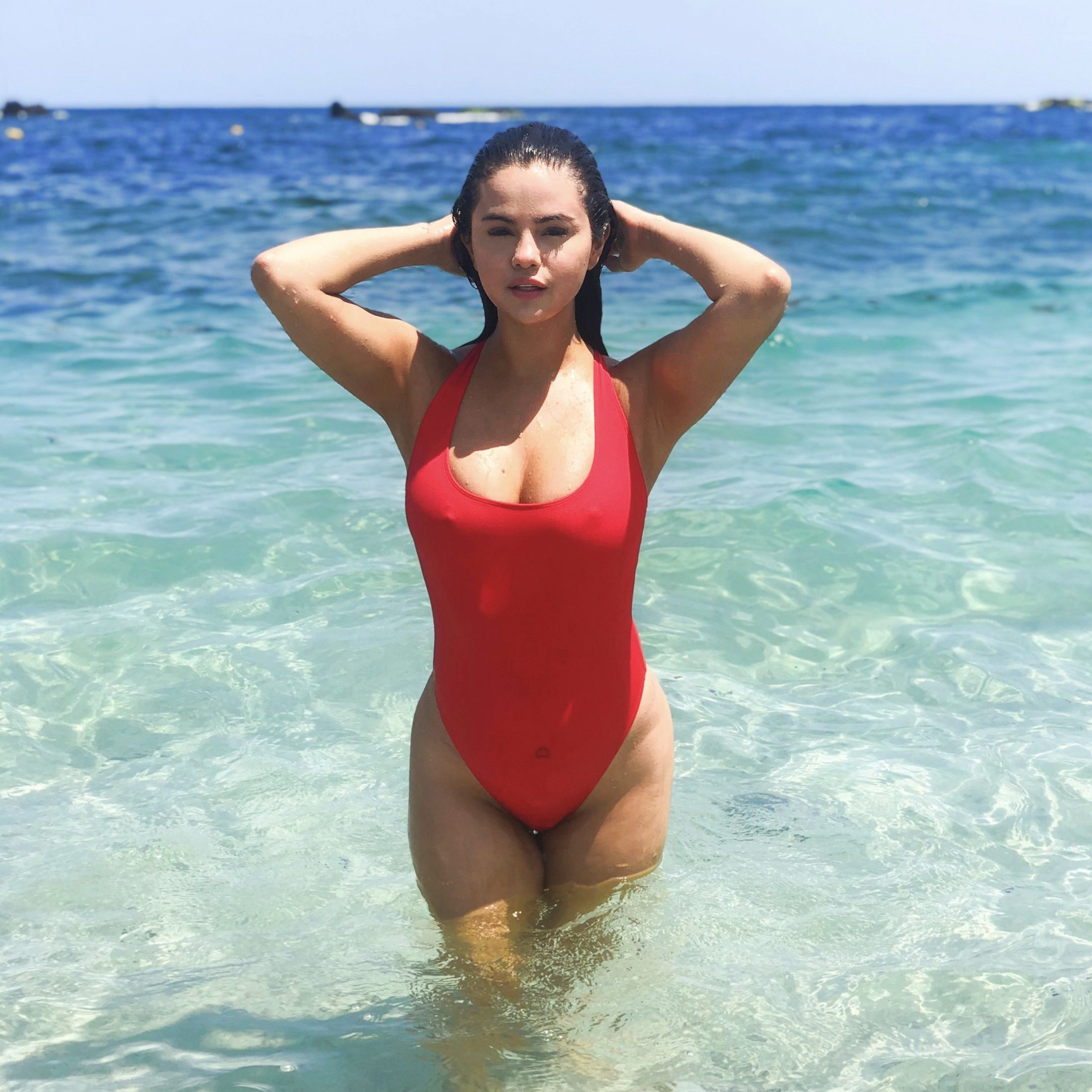 Selena Gomez in Red Swimsuits - Krahs Swimwear 2019 Collection