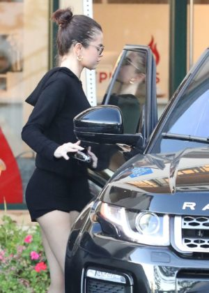 Selena Gomez in Shorts - Leaves Pilates in Los Angeles