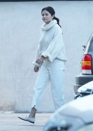 Selena Gomez in White Outfit - Out in Los Angeles