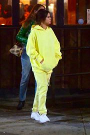 Selena Gomez in Yellow Sweatsuit - Night Of Bar Hopping in Brooklyn