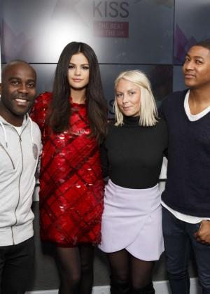 Selena Gomez in Red Dress at KISS FM Studios -02
