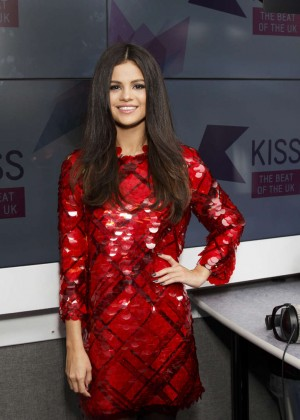 Selena Gomez in Red Dress at KISS FM Studios -04
