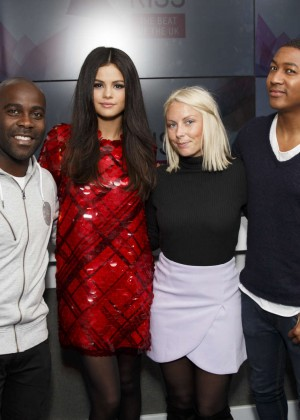 Selena Gomez in Red Dress at KISS FM Studios -06