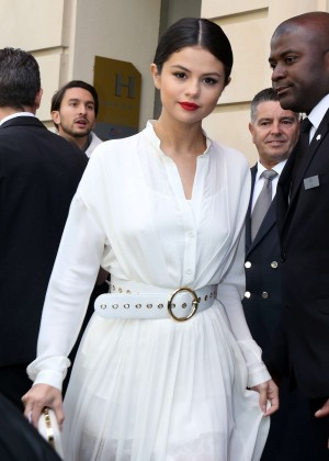 Selena Gomez in White Dress Leaving her hotel in Paris