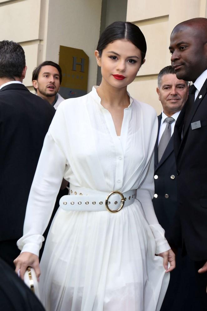 Selena Gomez in White Dress Leaving her hotel in Paris