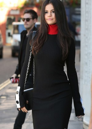 Selena Gomez in Mini Dress Leaving KISS FM Studios in London