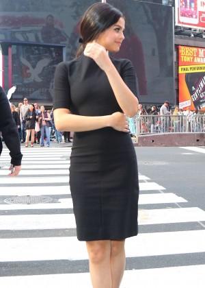 Selena Gomez - Out in black mini dress
