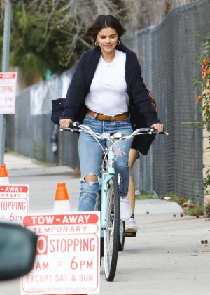 Selena Gomez - Riding her bike in Studio City