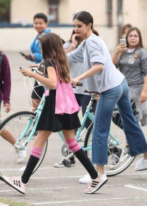 Selena Gomez - Shoots hoops with students in LA