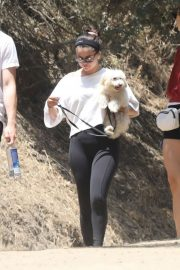Selena Gomez - Takes new puppy for a hike with friends in Los Angeles