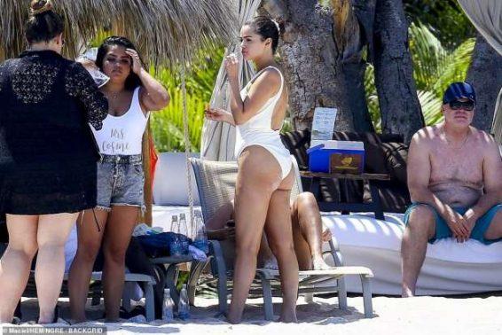 Selena Gomez – Wear White Swimsuit at a Beach in Punta Mita – Mexico-23