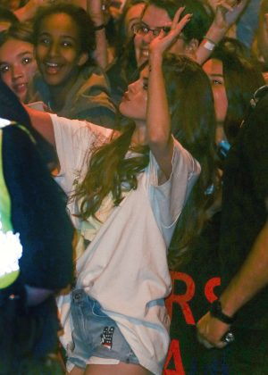 Selena Gomez in Jeans Shorts with her fans -14