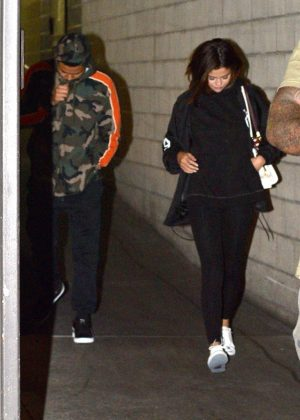 Selena Gomez with The Weeknd at The Grove in West Hollywood