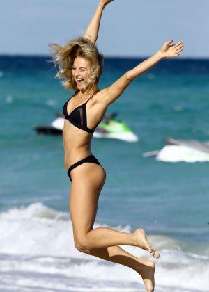 Selena Weber in Black Bikini at the beach in Miami