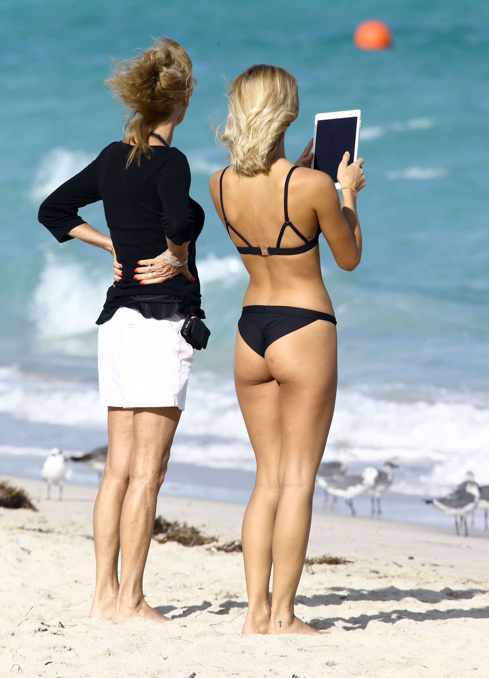 Selena Weber in Black Bikini at the Beach in Miami Pic 5 of 35