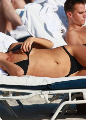 Selena Weber in Black Bikini on Miami Beach