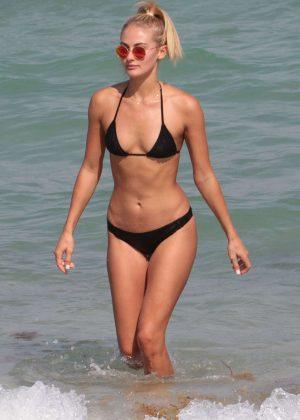 Selena Weber in Black Tiny Bikini in Miami Beach