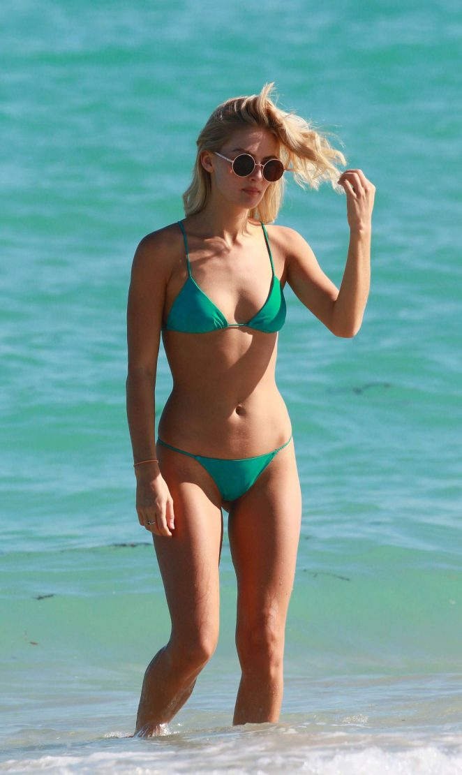 Selena Weber in Green Bikini at the beach in Miami