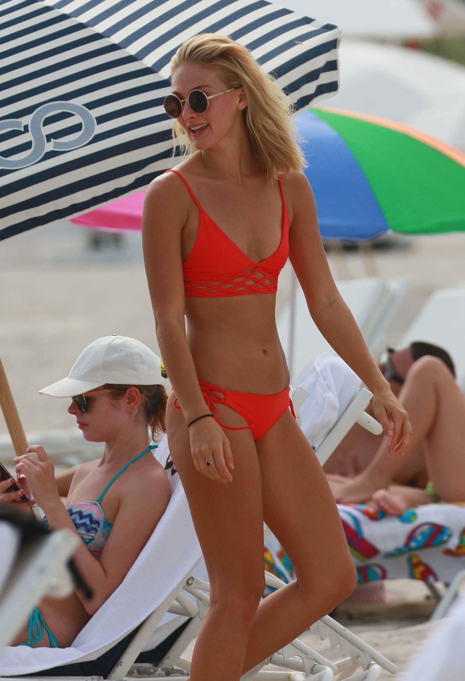 Selena Weber in Red Bikini at the beach in Miami