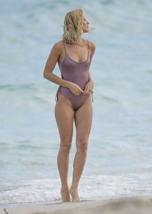 Selena Weber in Swimsuit on Miami Beach