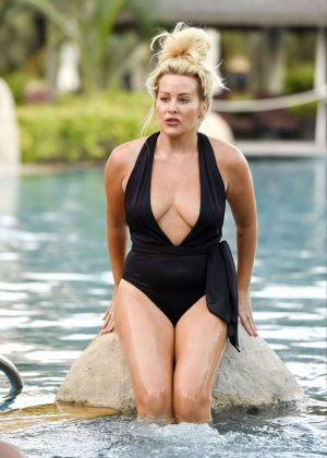 Selina Waterman-Smith in Swimsuit at a pool in Dubai