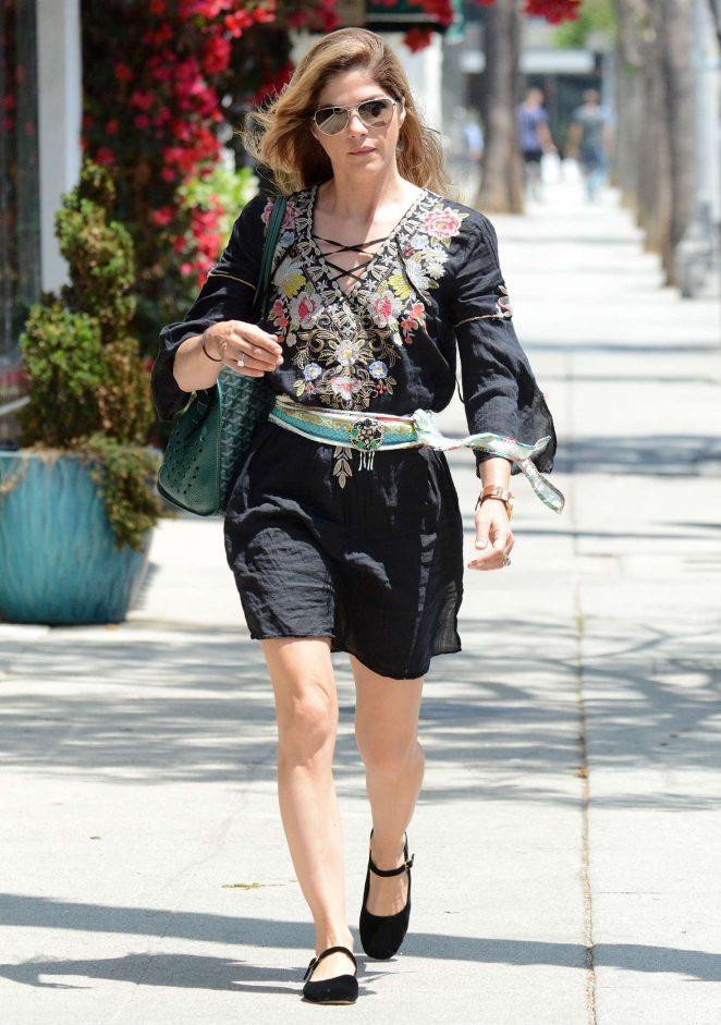 Selma Blair in a Boho Dress - Out for coffee in Los Angeles
