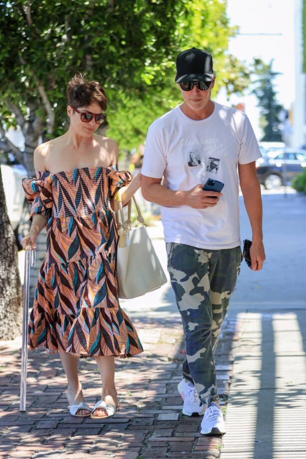 Selma Blair - In colorful dress with her man Ron out in West Hollywood