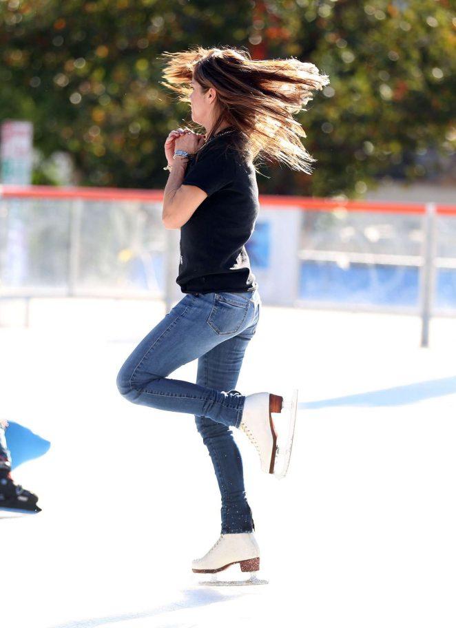 Selma Blair in Jeans ice skating in Los Angeles