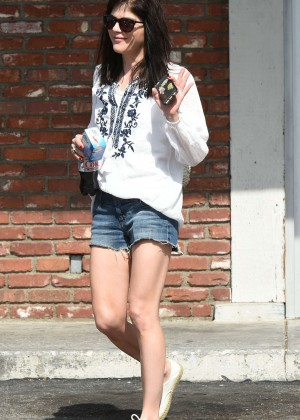 Selma Blair in Jeans Shorts out Los Angeles