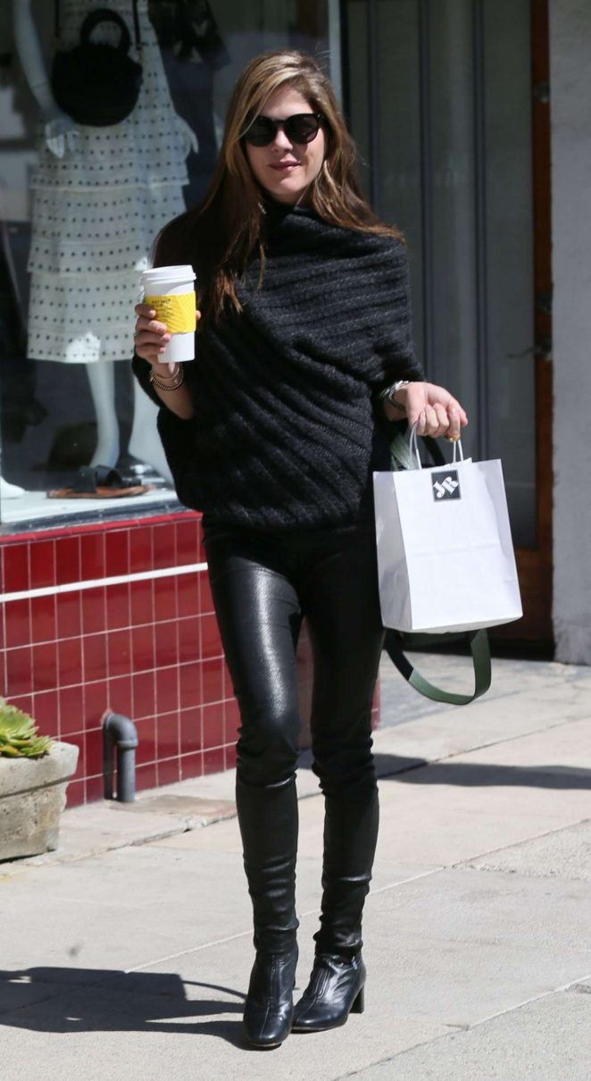 Selma Blair in Leather Pants Shopping in LA