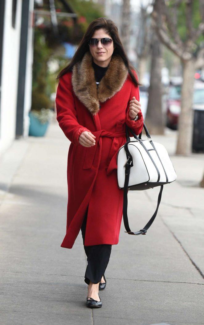 Selma Blair in red coat out in Los Angeles