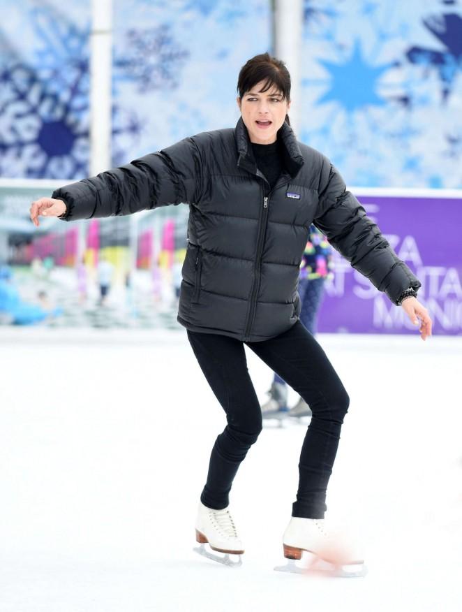Selma Blair in Tights on Ice Rink in Santa Monica