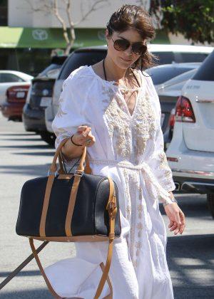 Selma Blair in White Dress at nail salon in Studio City