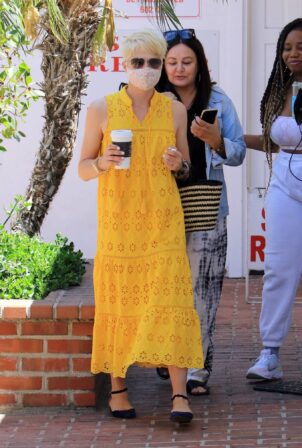 Selma Blair - In yellow dress Out for a coffee in Studio City