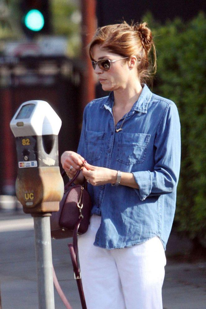 Selma Blair pay her parking meter in Los Angeles